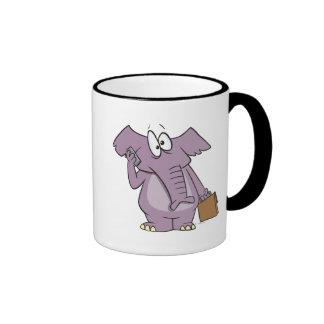 silly elephant on a cellphone cartoon coffee mug