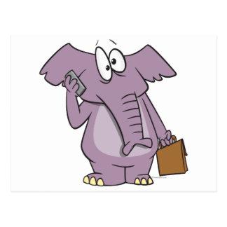 silly elephant on a cellphone cartoon post card