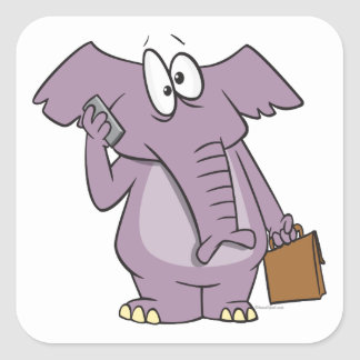 silly elephant on a cellphone cartoon square sticker