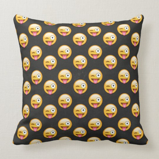 Silly Emoji Face Pattern Throw Pillow