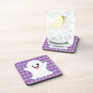 Silly Emoji Ghost (purple swirl) Coasters
