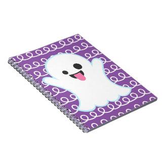 Silly Emoji Ghost (purple swirl) Notebook