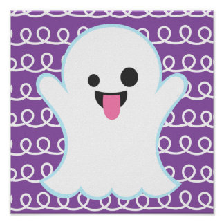 Silly Emoji Ghost (purple swirl) Poster