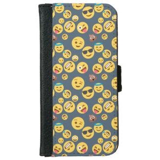Silly Emoji Grey Pattern iPhone 6 Wallet Case