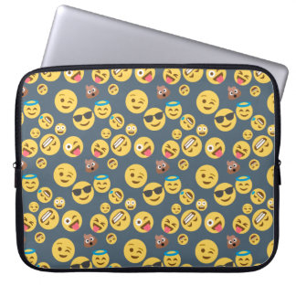 Silly Emoji Grey Pattern Laptop Sleeve