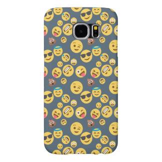 Silly Emoji Grey Pattern Samsung Galaxy S6 Cases