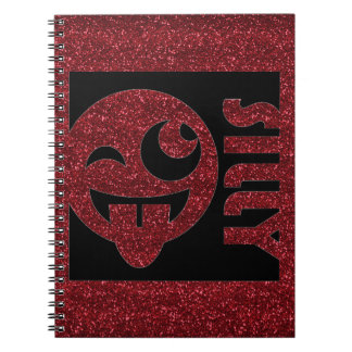 Silly Emoji Square Red Glitter Notebook