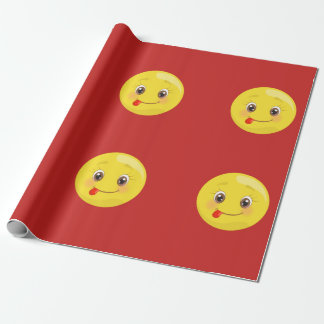 Silly Emoji with Tongue Out Red Wrapping Paper