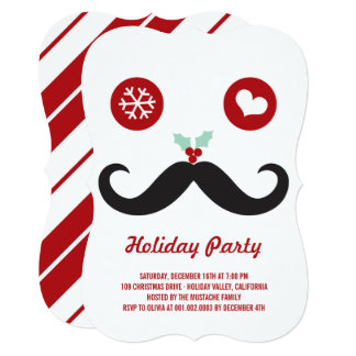 """Silly Fun Cute Mustache Smiley Holiday Party 5"""" X 7"""" Invitation Card"""
