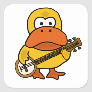 Silly Funny Duck Playing Banjo Cartoon Square Sticker