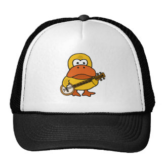 Silly Funny Duck Playing Banjo Cartoon Trucker Hat