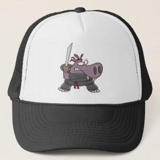 silly funny ninja hippo cartoon trucker hat
