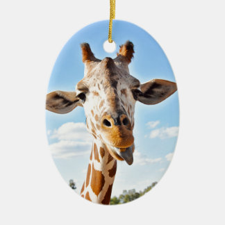 Silly Giraffe Ceramic Ornament