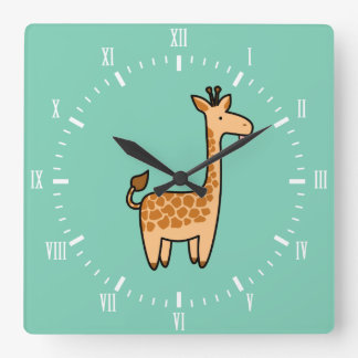 Silly Giraffe Custom Square Clock