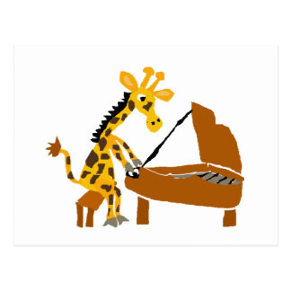 Silly Giraffe Playing the Piano Postcard
