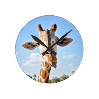 Silly Giraffe Round Clock