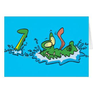 silly gliding alligator crocodile cartoon card
