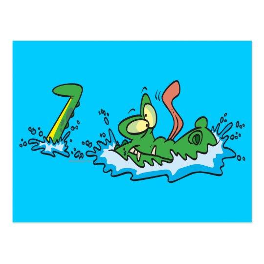 silly gliding alligator crocodile cartoon postcard