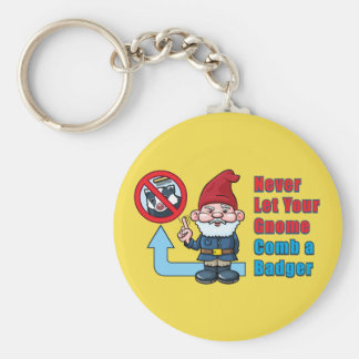 Silly Gnome and Badger Basic Round Button Keychain