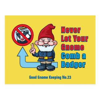 Silly Gnome and Badger Postcard