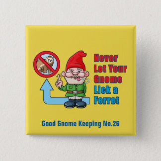 Silly Gnome And Ferret 2 Inch Square Button
