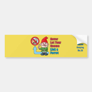 Silly Gnome And Ferret Bumper Sticker