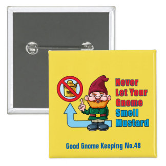 Silly Gnome and Mustard 2 Inch Square Button