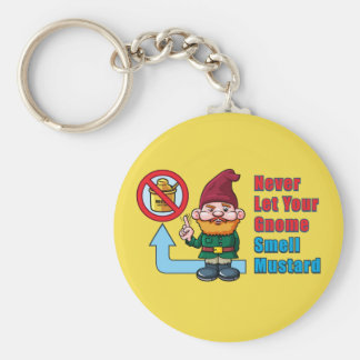 Silly Gnome and Mustard Basic Round Button Keychain