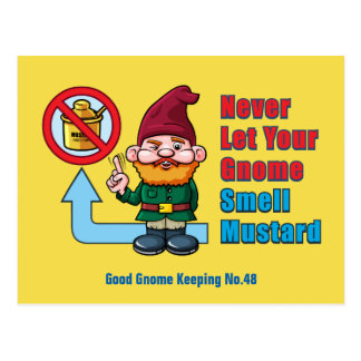 Silly Gnome and Mustard Postcard