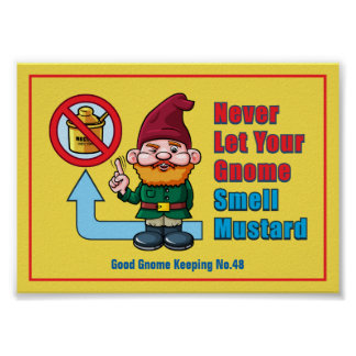 Silly Gnome and Mustard Poster