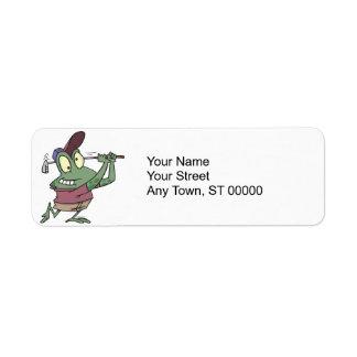 silly golfing golfer frog cartoon return address label