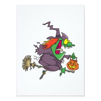 """silly goofy halloween witch toon 6.5"""" x 8.75"""" invitation card"""