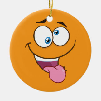 Silly Goofy Square Emoji Ceramic Ornament