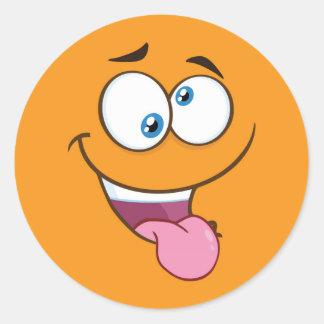 Silly Goofy Square Emoji Classic Round Sticker