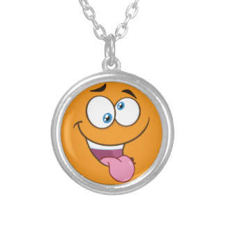 Silly Goofy Square Emoji Silver Plated Necklace