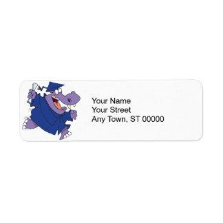 silly graduate graduation hippo cartoon return address label