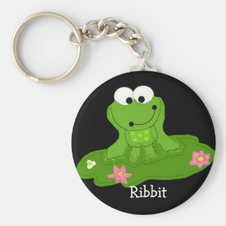 Silly Green Frog Basic Round Button Keychain