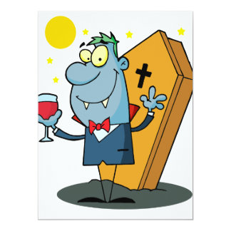 "silly halloween vampire cartoon character 6.5"" x 8.75"" invitation card"