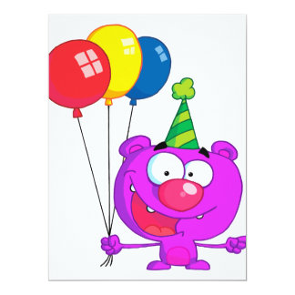 "silly happy birthday party purple bear  balloons 6.5"" x 8.75"" invitation card"