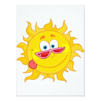 "silly happy sun cartoon wearing shades 6.5"" x 8.75"" invitation card"