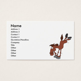 silly high kick horse cartoon character business card