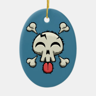 Silly Jolly Roger Ceramic Oval Ornament