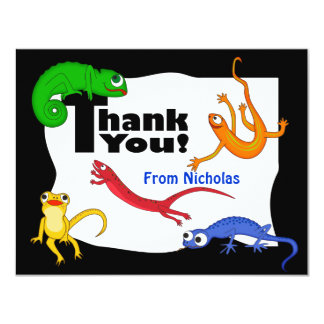 Silly Leaping Lizard Thank You Note Card