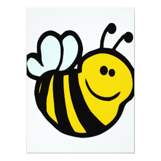 "silly little bumble bee smiling cartoon character 6.5"" x 8.75"" invitation card"