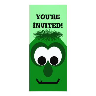 "Silly Little Dark Green Monster 4"" X 9.25"" Invitation Card"