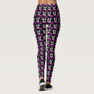 Silly Little Pink Eared Smiling Cartoon Rabbits Leggings