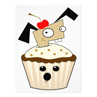 silly little puppy dog in cupcake kawaii cartoon personalized invitations