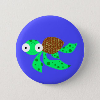 Silly little sea turtle 2 inch round button