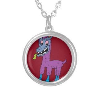 Silly llama Monster Silver Plated Necklace
