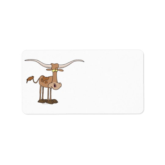 silly longhorn cow cartoon character